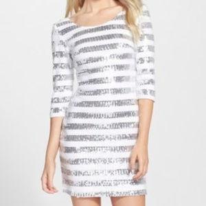 Clove Sequin Shift Dress White/Silver #296